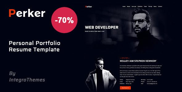 Perker - Personal / Portfolio / Resume / CV / vCard Template nulled theme download