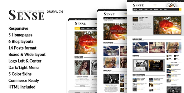 Sense - Blog Magazine & News Drupal 7 Theme - News / Editorial Blog / Magazine
