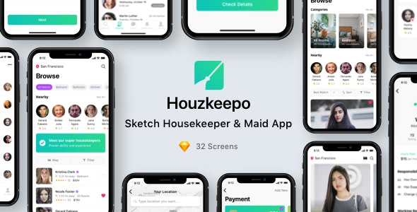 Houzkeepo - Sketch Housekeeper & Maid App - Sketch Templates