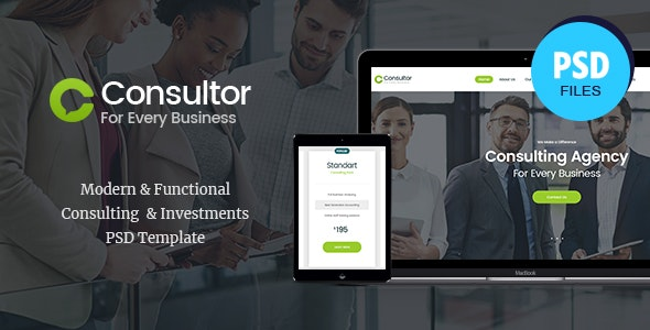 Consultor   A Business Financial Advisor PSD Template - Business Corporate