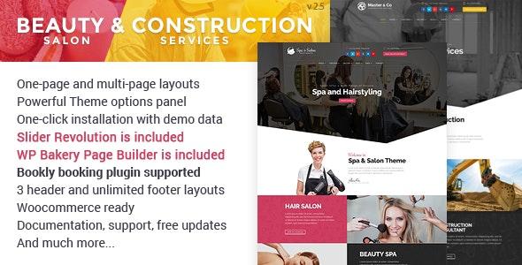 Beauty Salon & Construction Services WordPress Theme - Health & Beauty Retail