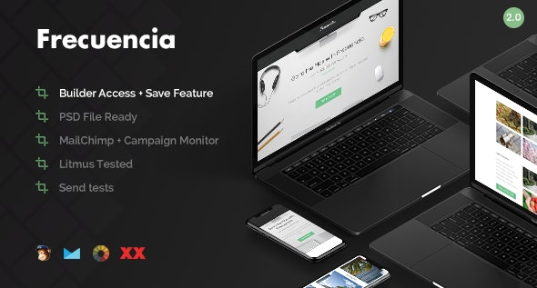 Frecuencia - 100+ Modules - Email + Online Template Builder - Email Templates Marketing