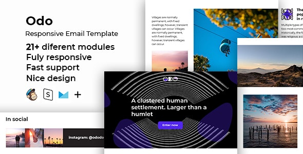 Odo – Responsive HTML Email + StampReady, MailChimp & CampaignMonitor Compatible Files - Email Templates Marketing