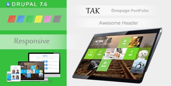 TAK - Responsive Onepage Portfolio Drupal 7.6 Theme