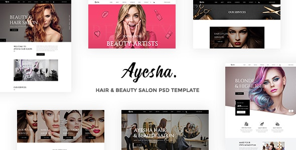 Ayesha Hairdressers And Beauty Salons Psd Template By Dropletthemes