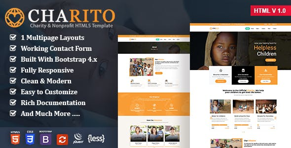 Charito - Charity Nonprofit HTML Template nulled theme download