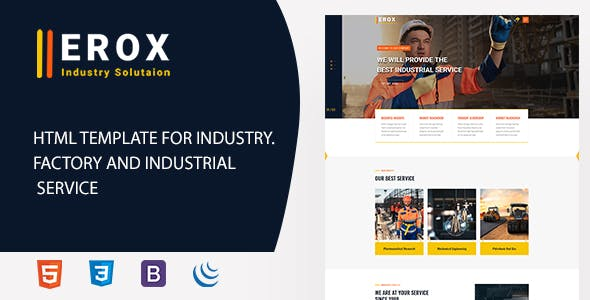Erox - Industry, Industrial, Factory and Engineering HTML Template nulled theme download