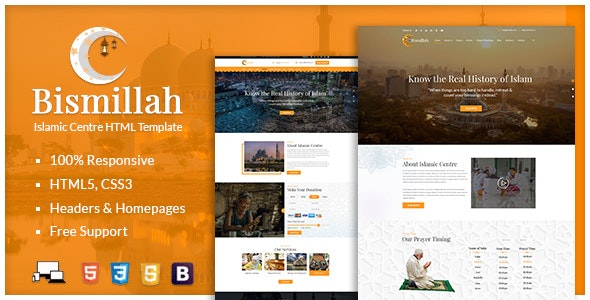 Bismillah - Islamic Center Responsive HTML Template by
