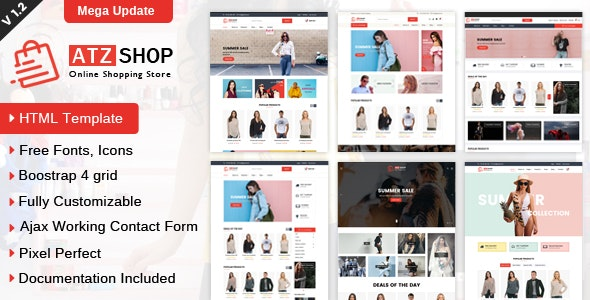 ATZ Shop - Online Shopping Store HTML Template - Retail Site Templates