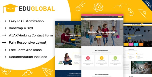 Education & Courses HTML Template for LMS and Educational Site | Eduglobal - Corporate Site Templates