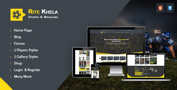 RiteKhela Sports & Magazine HTML Template - Nonprofit Site Templates