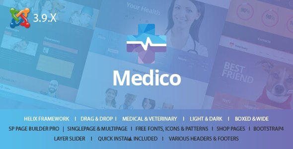 Medico - Medical & Veterinary Joomla Template With Page Builder - Health & Beauty Retail