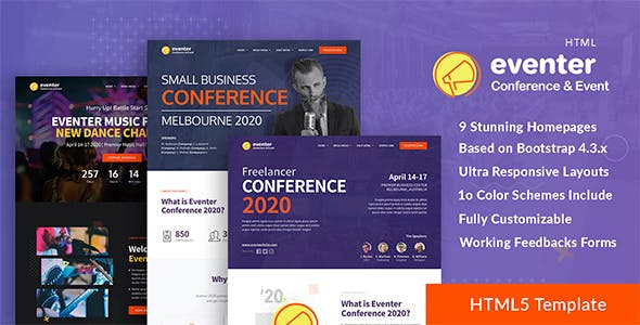 Eventer - Conference, Event and Meetup Landing Page Template nulled theme download
