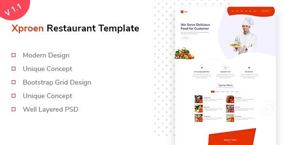 Xproen – Creative Restaurant  PSD Template - Business Corporate