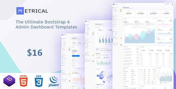 Metrical - Multipurpose Bootstrap4 Admin Dashboard Template. nulled theme download