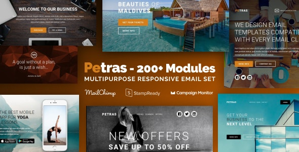 Petras - Multipurpose Email Set with MailChimp Editor, StampReady & Online Builder - Newsletters Email Templates