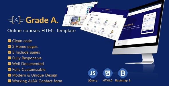 Grade A. - Online courses and Education HTML template - Corporate Site Templates