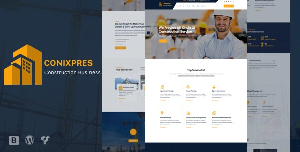 Conixpres - Construction Building WordPress - Business Corporate