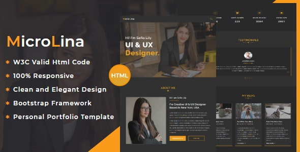 MicroLina - Responsive One Page Portfolio Template - Personal Site Templates