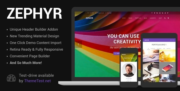 Zephyr | Material Design Theme - Corporate WordPress