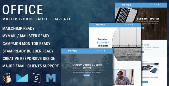 Office - Multipurpose Responsive Email Template with online Stampready & Mailchimp Builders Access