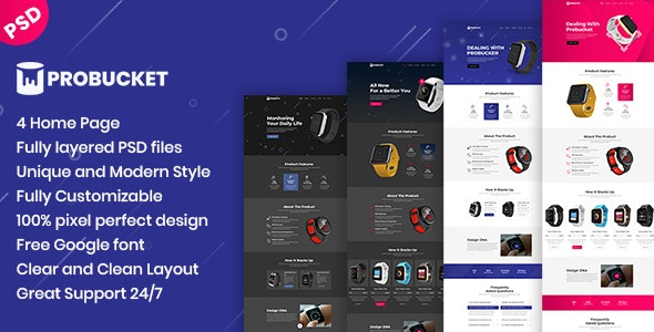 Probucket - Product Landing Page - Marketing Corporate