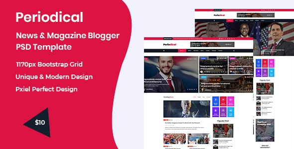 Periodical - News & Magazine Blogger PSD Template - Social Media Home Personal