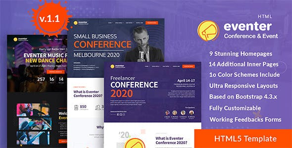 Eventer - Conference, Event and Meetup Landing Page Template