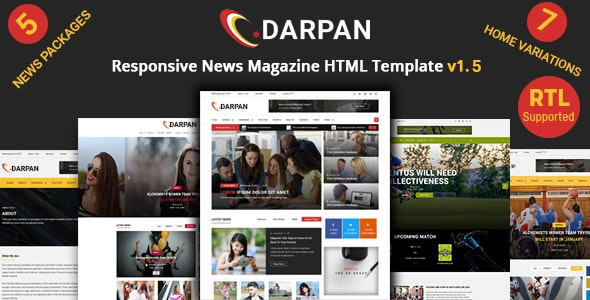 Darpan - News Magazine Responsive HTML Template - Entertainment Site Templates