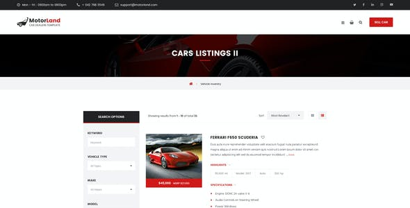 MOTORLAND - Car Dealer PSD Template