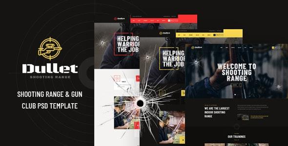 Dullet - Shooting Range & Gun Club PSD Template - Business Corporate