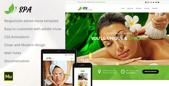 Spa and Beauty Adobe Muse Template - Muse Templates