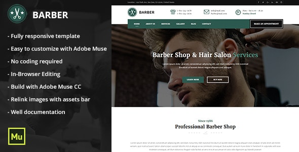 Responsive Barber Shop and Hair Salon Muse Template - Miscellaneous Muse Templates