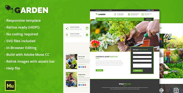 Responsive Garden and Lawn Services Muse Template - Corporate Muse Templates