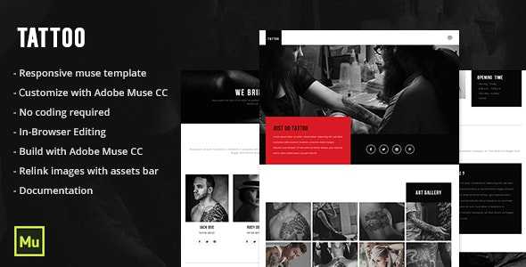 Responsive Tattoo Salon Muse Template - Miscellaneous Muse Templates