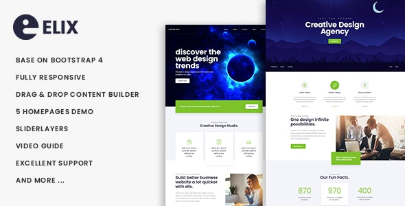 Elix - Responsive Multipurpose Business Drupal 8.7 Theme - Business Corporate