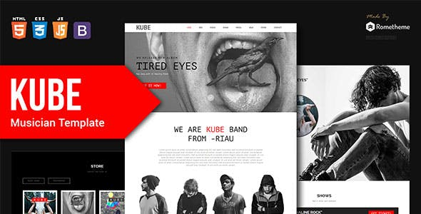 Kube - Musician, DJ, Band, Music HTML Template