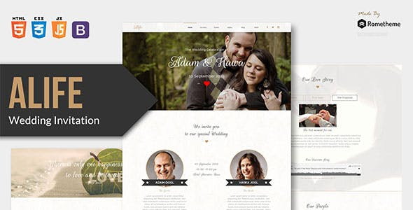 Download Alife - Wedding Invitation HTML Template