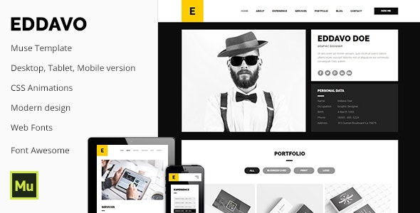 Eddavo - Portfolio and Resume Muse Template - Muse Templates
