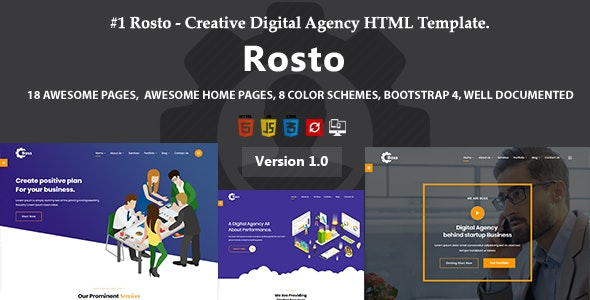 Rosto - Creative Digital Agency HTML Template - Business Corporate
