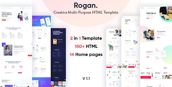 Rogan - Creative Multipurpose HTML template for Business, Agency, Saas, Portfolio - Creative Site Templates