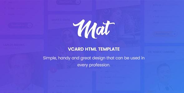 Mat - vCard & Resume Template - Virtual Business Card Personal