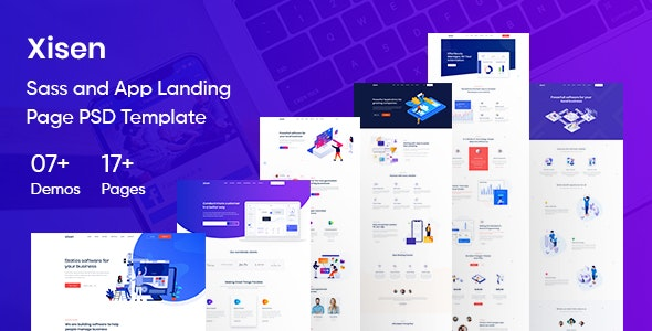 Xisen - Sass and App Landing Page PSD Template - Software Technology
