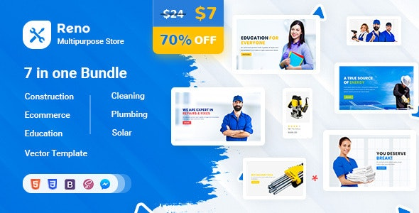 Reno - Tools Store - Construction - Education - Cleaning - Plumbing Template - Business Corporate