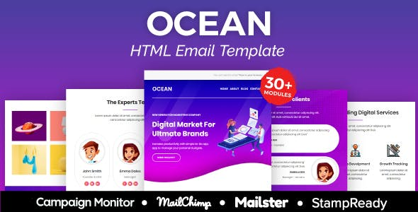 Ocean Agency - Multipurpose Responsive Email Template 30+ Modules -  Mailster & Mailchimp