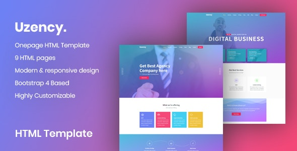 Uzency | Responsive Business Agency HTML5 Template - Business Corporate