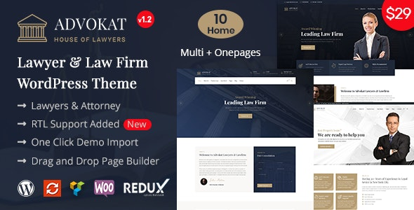 Advokat - Lawyer & Lawfirm WordPress Theme - Corporate WordPress