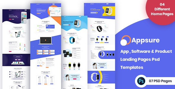 AppSure : App, Software, Product Landing Page PSD - Software Technology