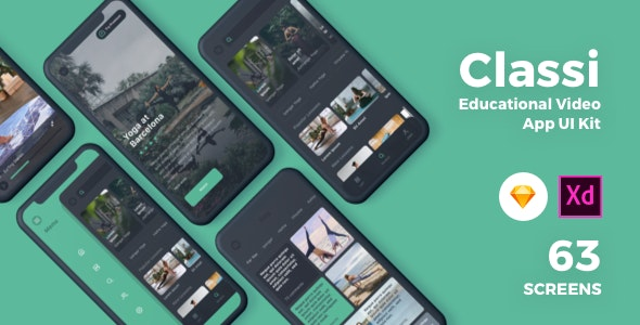 Classi - Educational App UI Kit - Corporate Sketch