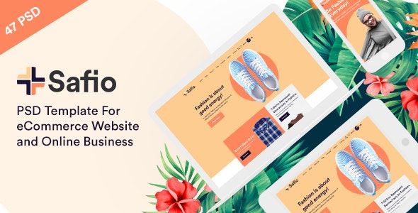 Safio PSD Templae for eCommerce Websites & Online Businesses - Fashion Retail